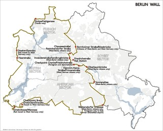 Map of Berlin wall with gates