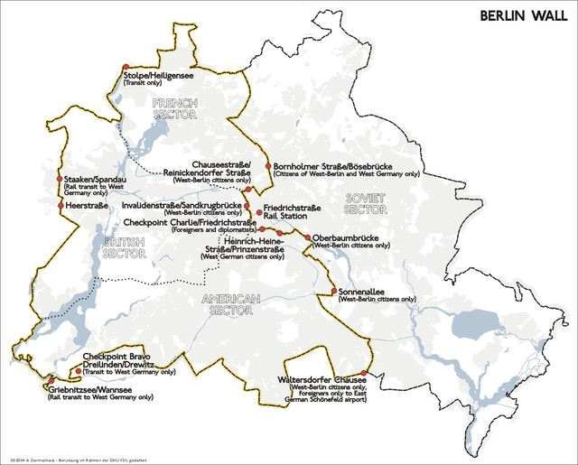 Map Of Germany 1980.Map Of Berlin Wall Location
