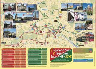 Map of Berlin hop on hop off bus tour with City Sightseeing