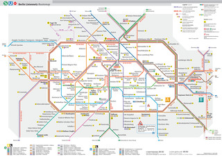 Map of Berlin u bahn, subway, tube & underground BVG network