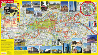 Map of Berlin hop on hop off bus tour with BVB